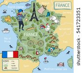 cartoon map of france. | Shutterstock . vector #541723351