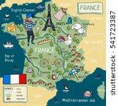cartoon map of france. | Shutterstock . vector #541723387