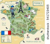 cartoon map of france. | Shutterstock . vector #541723405