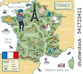 cartoon map of france. | Shutterstock . vector #541723411