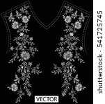 embroidery ethnic flowers neck... | Shutterstock .eps vector #541725745