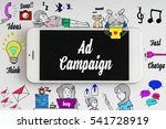 """Small photo of """"Ad campaign"""" words on smartphone with doodle and social media icon - internet, social, marketing and business concept"""