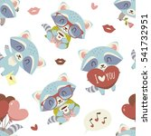 vector raccoon with heart set | Shutterstock .eps vector #541732951