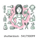 hairdressing concept with... | Shutterstock .eps vector #541750099