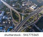aerial view of bangkok busy