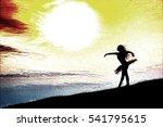 ballerina silhouette  dancing... | Shutterstock . vector #541795615