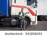 logistics   proud driver with... | Shutterstock . vector #541836031