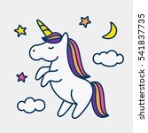 Stock vector magic cute unicorn stars clouds and moon poster greeting card vector illustration with outline 541837735