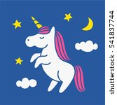 cute magic unicorn on night sky ... | Shutterstock .eps vector #541837744