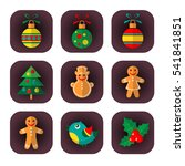 christmas symbols set isolated... | Shutterstock . vector #541841851
