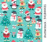 seamless pattern with santa... | Shutterstock .eps vector #541844431