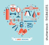 set of boxing equipment vector... | Shutterstock .eps vector #541861051