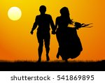 silhouette of a young couple at ...   Shutterstock .eps vector #541869895