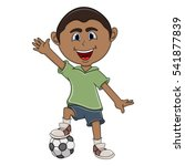 a boy playing soccer and wave... | Shutterstock . vector #541877839