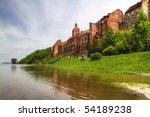 Alarm water level on Wisla river in Poland - Grudziadz - stock photo