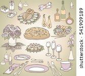 set sketch for a celebratory... | Shutterstock .eps vector #541909189