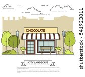 chocolate cafe with lamps and...   Shutterstock .eps vector #541923811