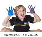 cute young boy playing with... | Shutterstock . vector #541956385