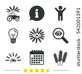 tractor icons. wreath of wheat... | Shutterstock . vector #542001391