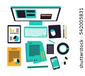 workspace gadgets | Shutterstock .eps vector #542005831