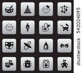 set of 16 editable child icons. ...