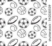 sport balls doodle hand drawn...   Shutterstock .eps vector #542030539