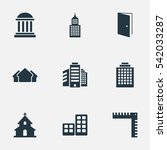set of 9 simple structure icons.... | Shutterstock .eps vector #542033287