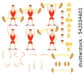 cartoon man barbell exercises... | Shutterstock .eps vector #542034601