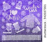 set drawings knitted woolen... | Shutterstock .eps vector #542037301