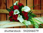 Bright Red Wedding Bouquet On...