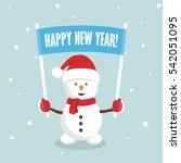 snowman holding a blank sign.... | Shutterstock .eps vector #542051095