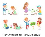 happy boy and girl doing garden ... | Shutterstock .eps vector #542051821