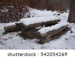 wooden table in the forest | Shutterstock . vector #542054269