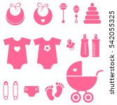 set of baby girl elements icons.... | Shutterstock . vector #542055325