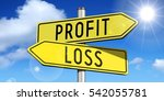 profit  loss   yellow road sign | Shutterstock . vector #542055781