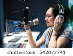 young woman dj works in modern...   Shutterstock . vector #542077741