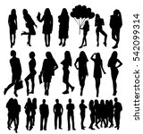 woman and man silhouettes | Shutterstock .eps vector #542099314
