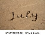 The Text String July On The Sand