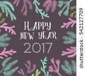 post card with hand drawn new... | Shutterstock .eps vector #542127709