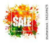 text sale in frame in paper... | Shutterstock . vector #542149675