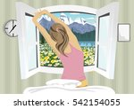 woman stretching in bed after... | Shutterstock .eps vector #542154055