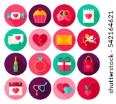 happy valentines day flat icons....   Shutterstock .eps vector #542164621