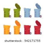 set of trash bins on wheels in... | Shutterstock .eps vector #542171755