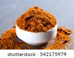 Small photo of Ras el hanout spices mix texture: paprika, cumin,coriander,cardamom, cinnamon,cloves, nutmeg, pepper