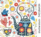 Love Tea. Cute Postcard.