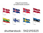 set of flags of northern europe ... | Shutterstock .eps vector #542193325