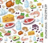 vector seamless pattern dairy... | Shutterstock .eps vector #542199139