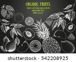 fruits top view frame. farmers... | Shutterstock .eps vector #542208925