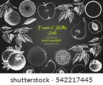 fruits top view frame. farmers... | Shutterstock .eps vector #542217445