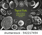 tropical fruits top view frame. ... | Shutterstock .eps vector #542217454
